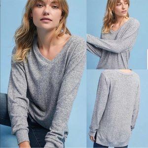 Anthro Saturday Sunday Hacci V-Neck Fleece Sweater